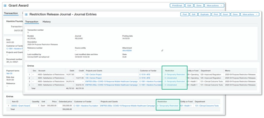 Sage Intacct Restricted Release Journal