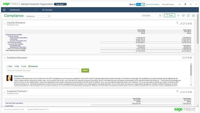 Sage Intacct FASB 958 Disclosures with Qualitative Discussion Dashboard
