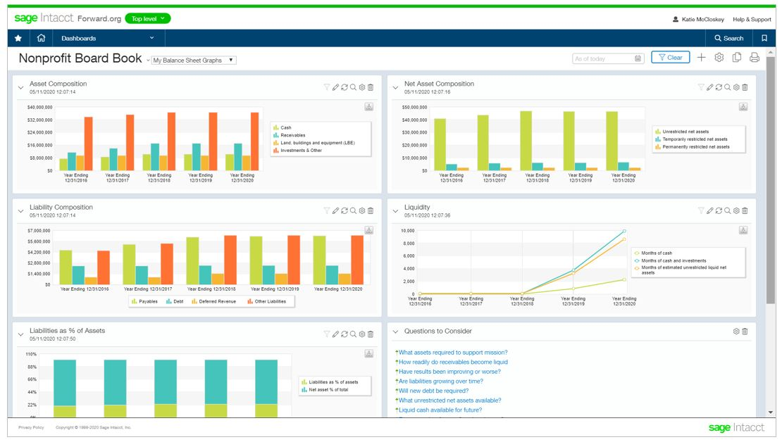 Sage Intacct Nonprofit Digital Board Book - Balance Sheet