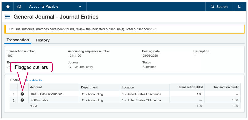 Sage Intacct Outlier Detection Example